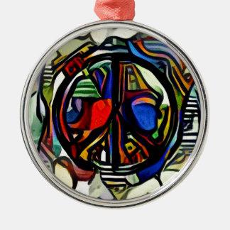 Colorful peace symbol Silver-Colored round ornament