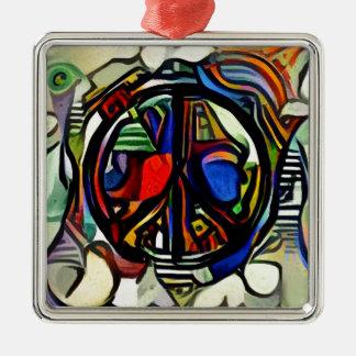 Colorful peace symbol Silver-Colored square ornament