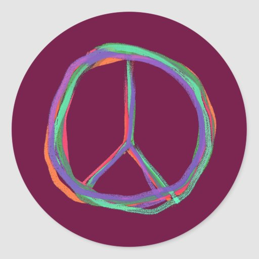 Colorful Peace Symbol Stickers