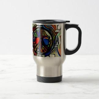 Colorful peace symbol travel mug