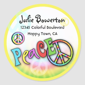 Colorful PEACE Tie Dye Address Label Round Sticker
