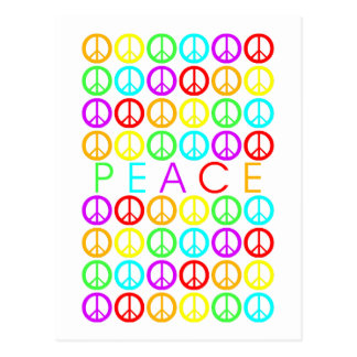 Colorful PEACE w/peace signs Post Cards