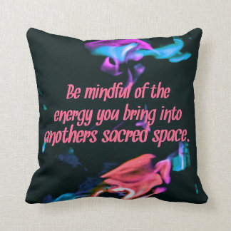 Colorful Peach Flames Energy Sacred Spaces Quote Throw Pillow