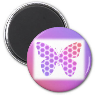 Colorful Peach Pink Purple Geometric Butterfly Art 2 Inch Round Magnet