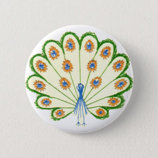 Colorful Peacock 2 Inch Round Button