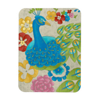 Colorful Peacock and Flowers Rectangular Photo Magnet