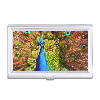 Colorful Peacock Business Card Case