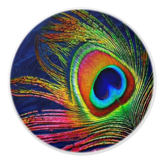 Colorful Peacock Feather Print Ceramic Knob