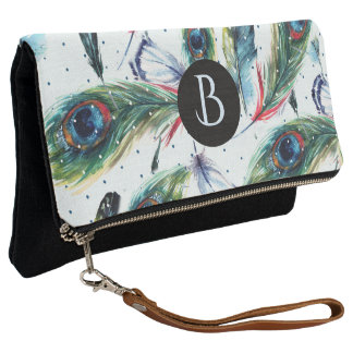 Colorful Peacock Feathers Pattern Monogram Clutch