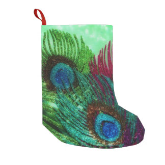 Colorful Peacock Feathers Small Christmas Stocking