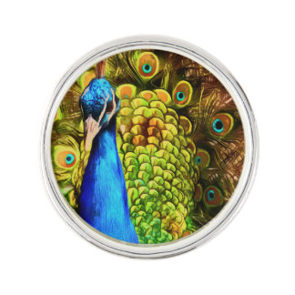Colorful Peacock Lapel Pin