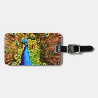 Colorful Peacock Luggage Tag