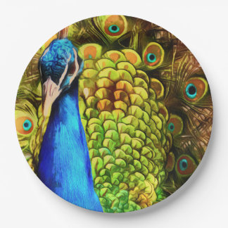 Colorful Peacock Paper Plate