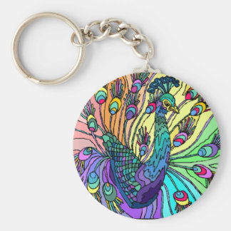 COLORFUL PEACOCK PEAFOWL KEY-CHAIN BASIC ROUND BUTTON KEYCHAIN
