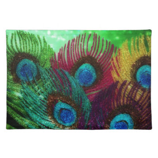 Colorful Peacock Place Mats