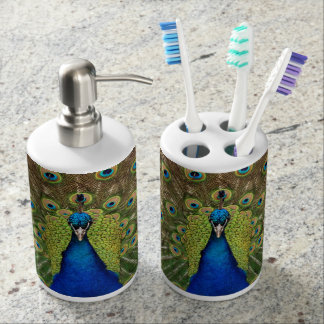 Colorful peacock print toothbrush holder