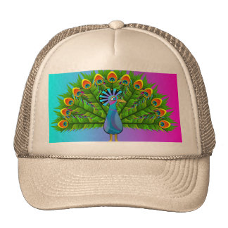Colorful Peacock Rainbow Colors Bird Psychedelic Trucker Hat