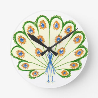 Colorful Peacock Round Clock