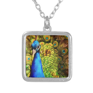 Colorful Peacock Silver Plated Necklace