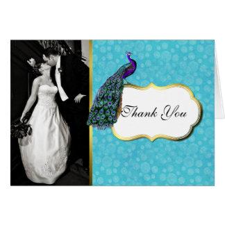 Colorful Peacock Wedding Photo Thank You Card