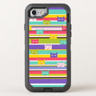 Colorful Peeking Cats on stripes OtterBox Defender iPhone 8/7 Case