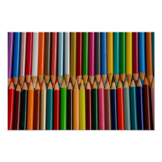 Colorful pencil crayons print poster