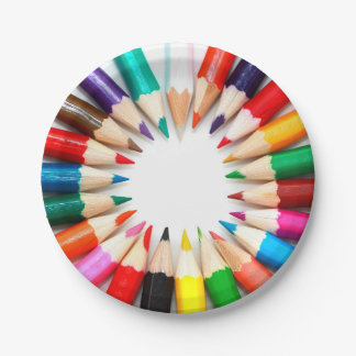 Colorful Pencils 7 Inch Paper Plate