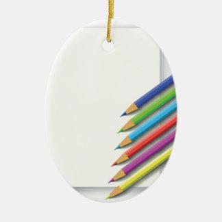colorful pencils ceramic ornament