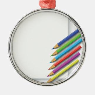 colorful pencils metal ornament