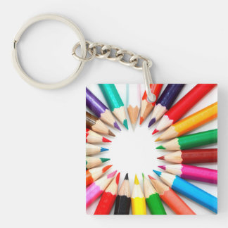 Colorful Pencils Single-Sided Square Acrylic Keychain