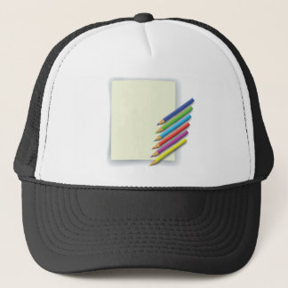 colorful pencils trucker hat