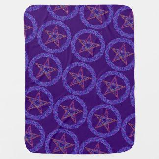 Colorful Pentagram Pagan Wicca Mystic Baby Blankie Receiving Blanket