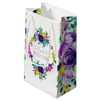 Colorful Peonies Wedding Wreath & Bouquet Small Gift Bag