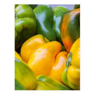 colorful pepperoni in autumn postcard