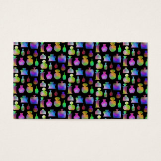 Colorful Perfume Bottles Pattern. Business Card