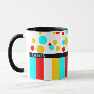 Colorful personalized name mug