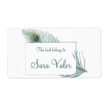 Colorful Personalized Vintage Peacock Feather Labels