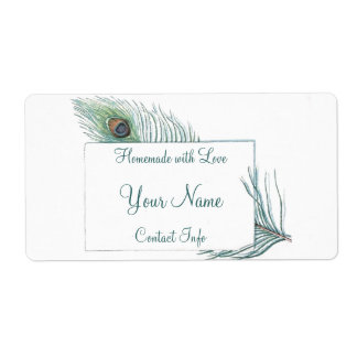 Colorful Personalized Vintage Peacock Feather Shipping Label