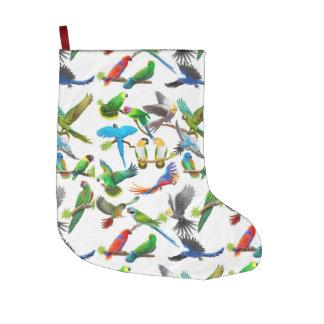 Colorful Pet Parrots Christmas Stocking