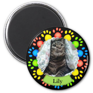 Colorful Pet Paw Prints Custom Magnet