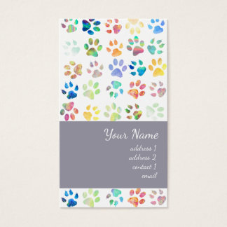 colorful pet paw prints pattern business card