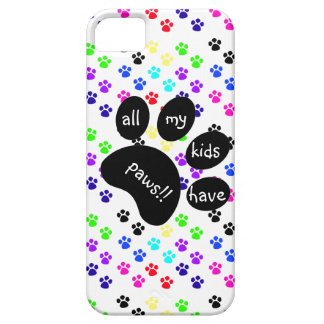 Colorful Pet Prints, All My Kids Have Paws!! iPhone 5 Case