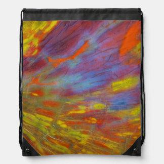 Colorful Petrified Wood close-up Drawstring Bag