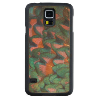 Colorful Pheasant Feathers Abstract Carved Maple Galaxy S5 Case
