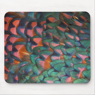 Colorful Pheasant Feathers Abstract Mouse Pad