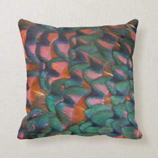 Colorful Pheasant Feathers Abstract Throw Pillow
