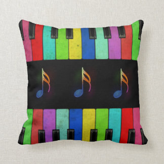 Colorful Piano Keys &Music Notes Throw Pillow