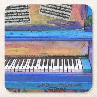 Colorful Piano Square Paper Coaster