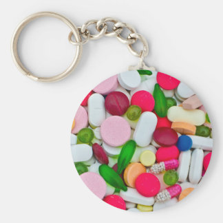 Colorful pills custom product basic round button keychain
