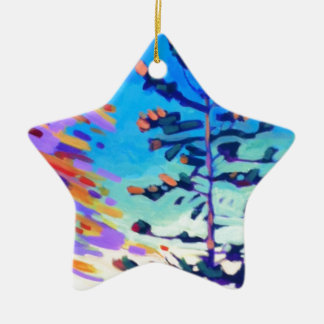 Colorful Pine Tree Painting Ceramic Star Ornament